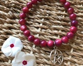 Burgundy Pentacle Bracelet // Valentines Day // Gypsy // Protection // Wicca // Spiritual Gift // Pagan // Womans Gift //