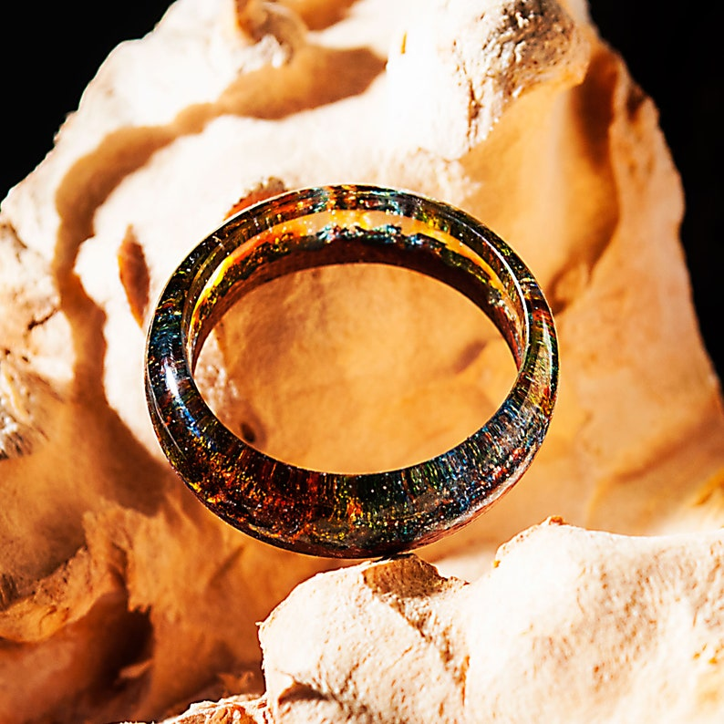 Wood Resin Ring Made of Epoxy Resin and Exotic Wood Wood and Resin Jewelry with Magic Unique Gft for Girlfriend Makes a Great Gift