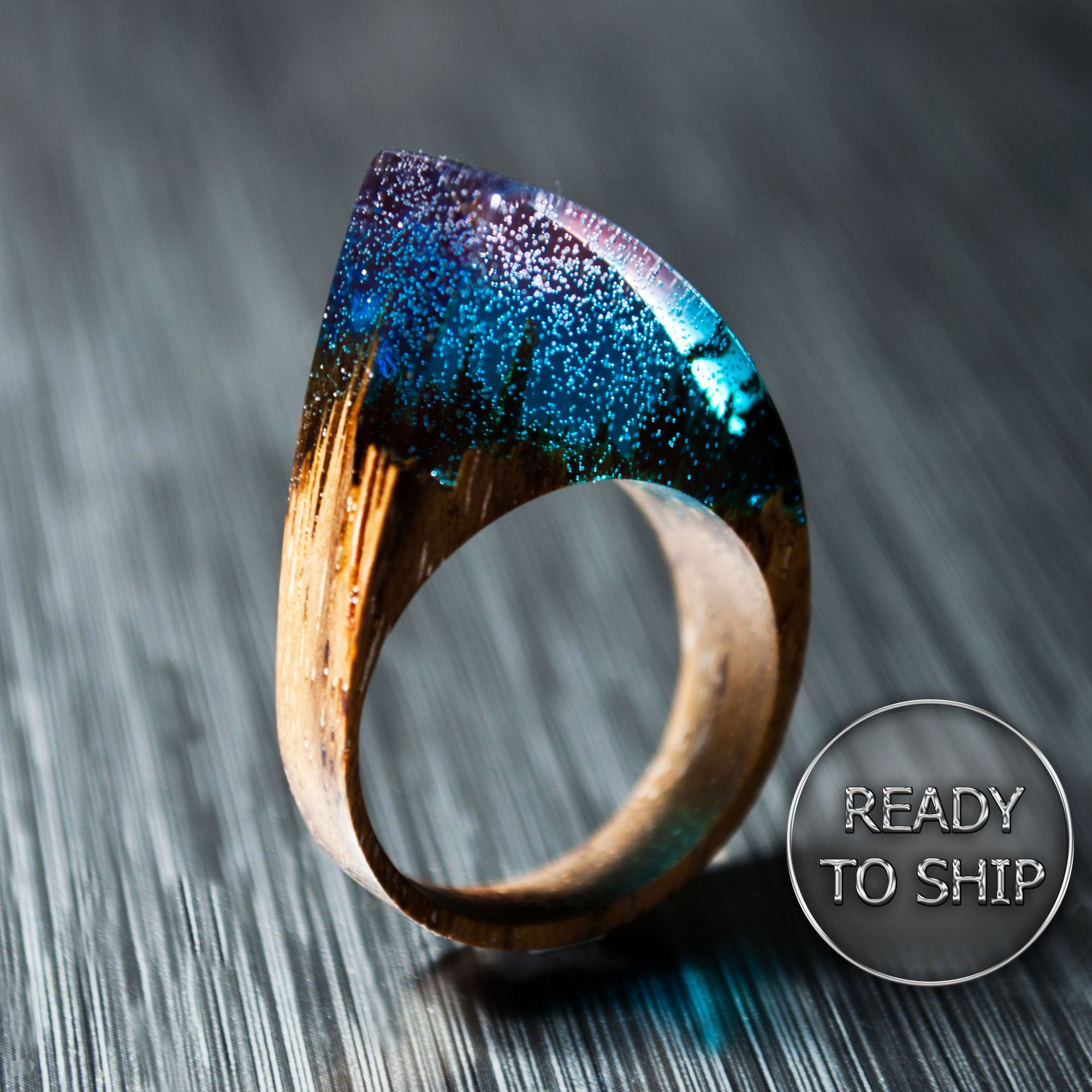 Wooden Resin Ring Custom Fit Makes Beautiful 5th Anniversary Gift and Wood Anniversary Gift for Her Ring Resin Ring Red