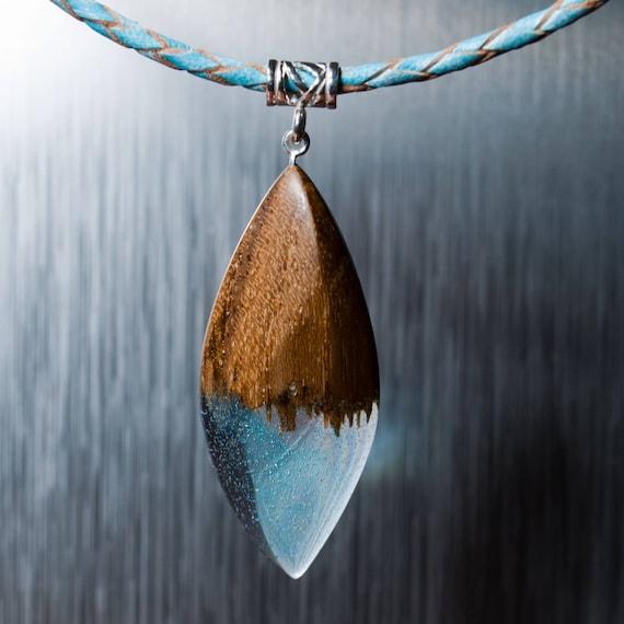 d8aca211b7f26c Resin Wood Necklace Wood Pendant on Leather Cord Handmade | Etsy