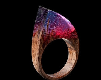 Red Resin Ring for Women - Nature Ring Resin Wood Ring with Resin Makes Stunning 5th Anniversary Wood Gift or Cool Ring for Her