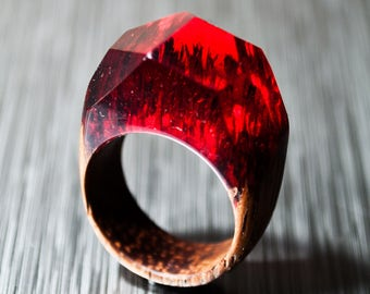 Resin Ring Red - Wooden Resin Ring Custom Fit Makes Beautiful 5th Anniversary Gift and Wood Anniversary Gift for Her Ring
