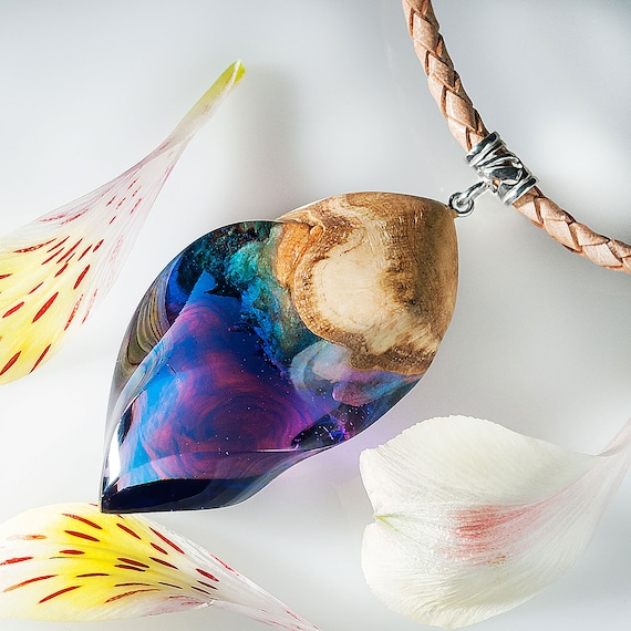 Pink Green and Blue Necklace Ink Art and Leather Cord Jewelry Pterocarpus Wood and Resin Pendant