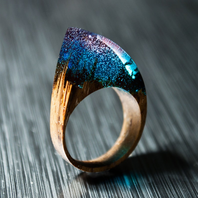 Gift for Woman Resin Rings Gift For Her Wood Ring Statement image 0