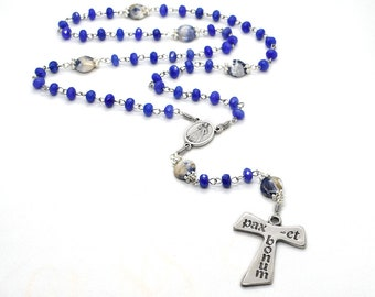 St Francis of Assisi rosary, Tau cross rosary, Blue gemstone rosary, Catholic prayer beads, Franciscan Rosary, Saint Francis chaplet, Easter