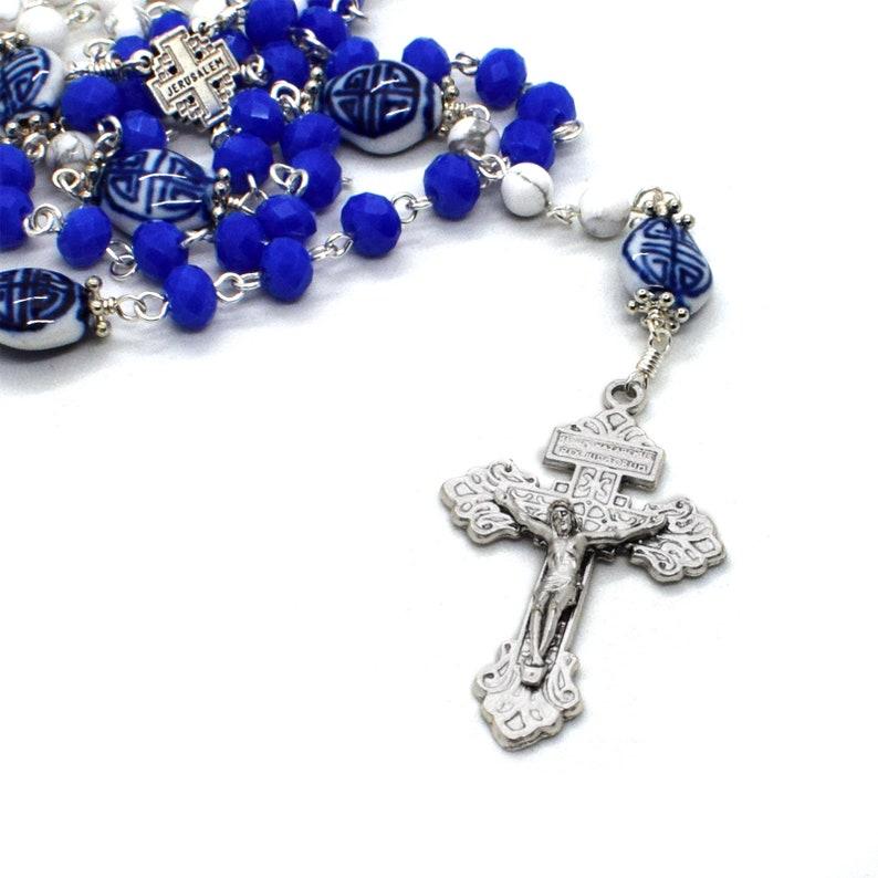 7b422fe87 Blue crystal & gemstone Rosary Prayer beads with Pardon | Etsy