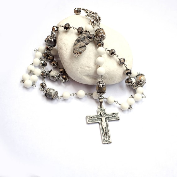 Large five decade Jasper Rosary - Italian Catholic rosary - Gemstone rosary - Unique Christian necklace - First communion gift - Mothers day