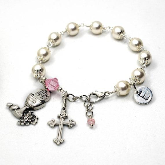 dfaa92c6c Personalized First communion bracelet Rosary bracelet for | Etsy