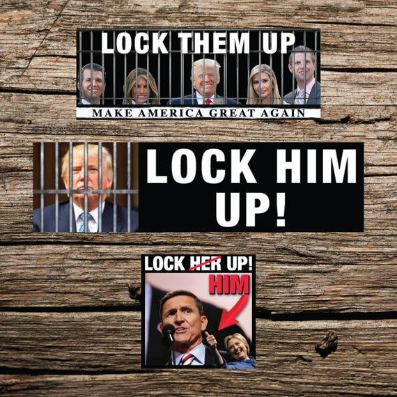 Anti Trump Bumper Stickers Resist Lock Them Up Lock Flynn Etsy