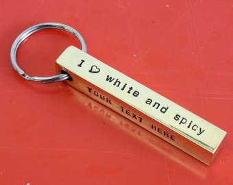 Aluminum Bar Keychain ,Personalized Keychain, Metal Keychain ,Custom Keychain Men, Aluminum Keychain Hand Stamped Keychain for Him Key chain