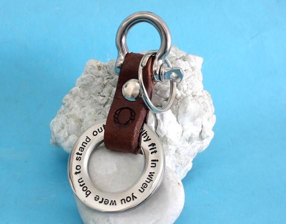 Stanley Leather Keyring Birthday Name Optional Engraving