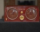 Vintage Art Deco Retro 1950s Mid-Century Zenith Burgundy Red Radio - Unique and Working