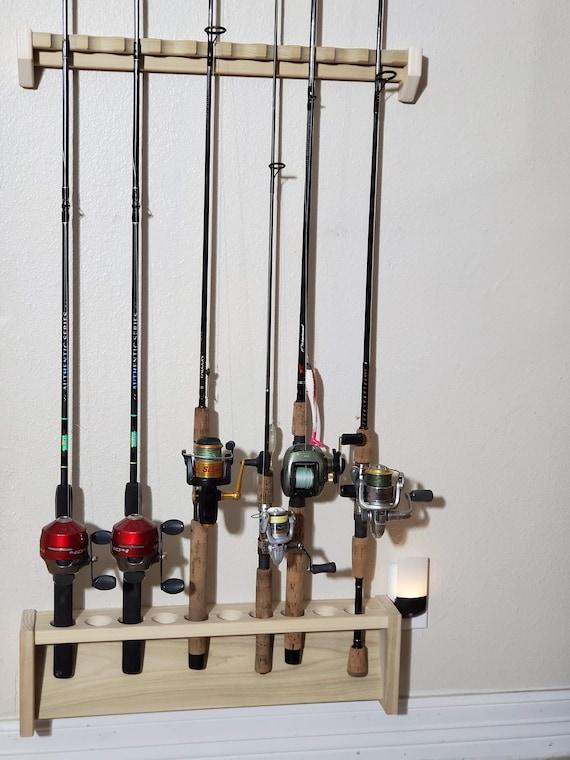 Fishing Rod Rack Unfinished Wood Custom Size Wall Mount Etsy