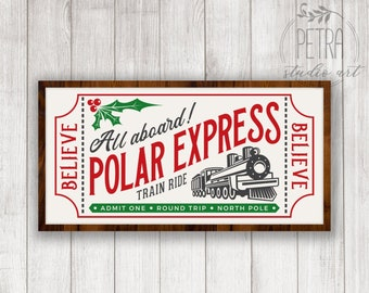 polar express ticket svg dxf cut file and printable for your christmas home decor and rustic sign personal and small business use