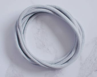 UK Made - Light Grey Nylon Headbands (one size fits all) Packs of 10, 25, 50 or 100