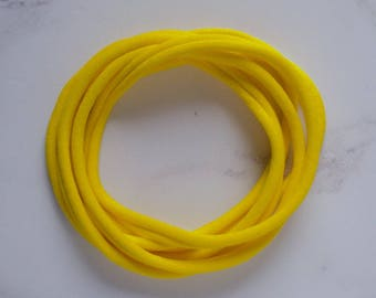 UK Made - Sunshine Yellow Nylon Headbands (one size fits all) Packs of 10, 25, 50 or 100