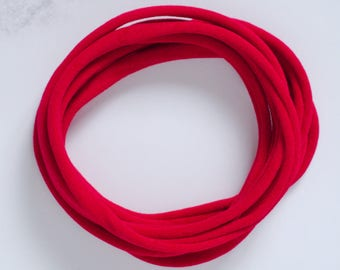 UK Made - Red Nylon Headbands (one size fits all) Packs of 10, 25, 50 or 100
