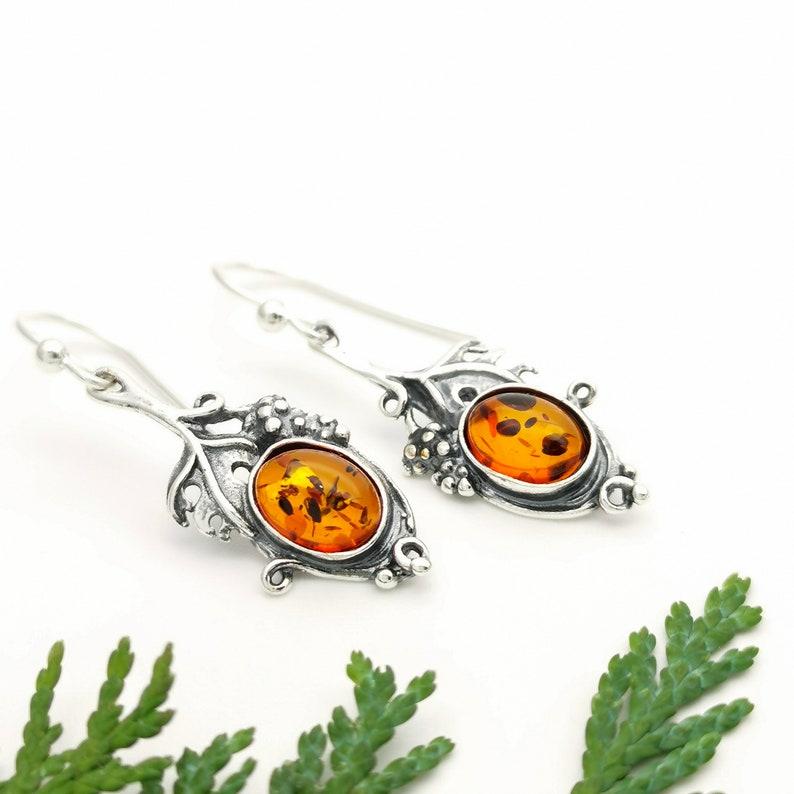 Sterling Silver Leaf Dangle Earrings Honey Amber Earrings Nature Earrings Oxidised Black Silver Earrings Gemstone Silver Drop Earrings