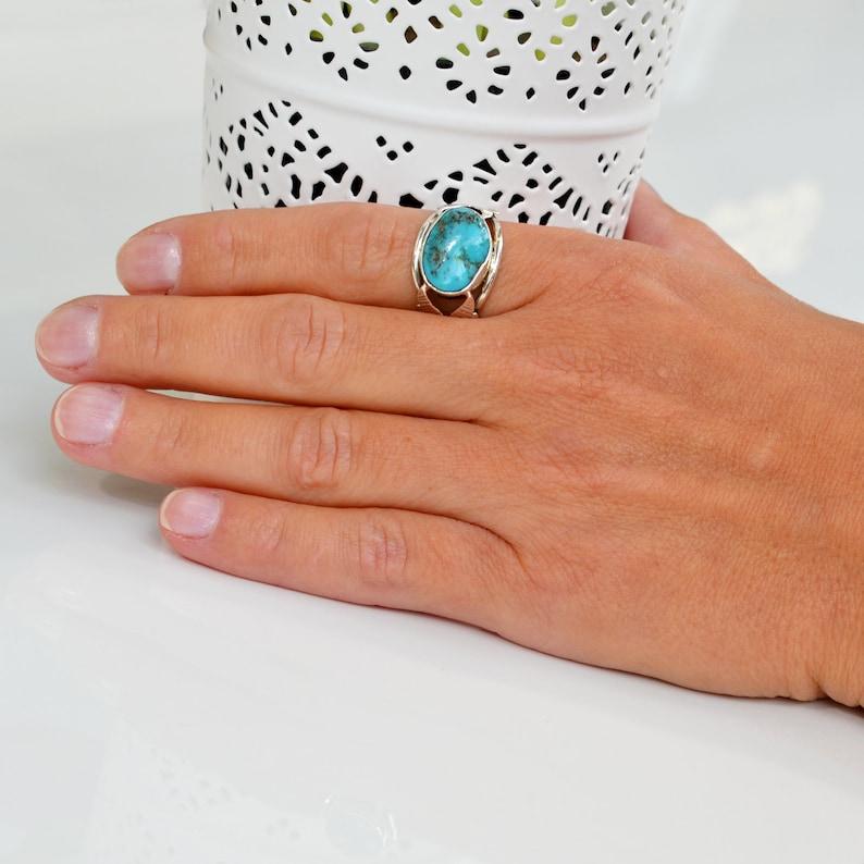 Statement December Birthstone Bohemian Ring Handmade Turquoise Silver Leaf  Ring
