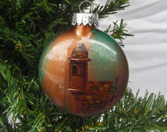 garita hanpainted glass christmas ornament puerto rico - Puerto Rican Christmas Decorations