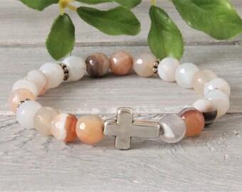 Half gemstone bracelet with cross, pile bracelet, stretch bracelet, ladies bracelet