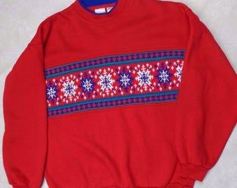 Vintage red snowflake sweatshirt Ugly Sweater Christmas S SM M26
