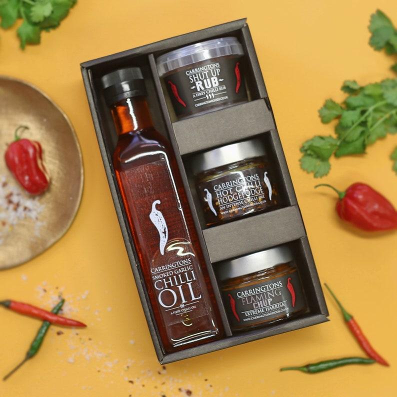 Hot Chilli Foodie Gift Hamper Box chilli gift set for him image 0