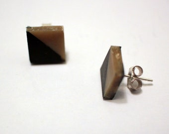 Ethical jewellery - Black & Gold Isos Earrings: stud earrings made from recycled plastic; sterling silver