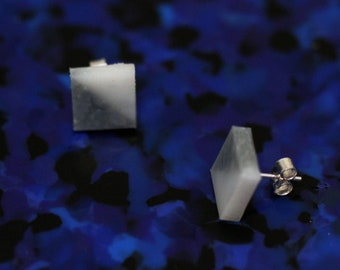 Ethical jewellery - Silver Isos Earrings: stud earrings made from recycled plastic; sterling silver
