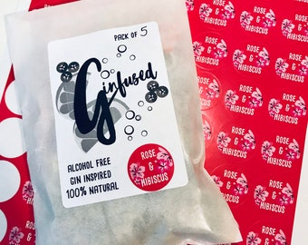 Rose & Hibiscus Gin Flavoured Botanical Infusion Bags. Pack of 5.