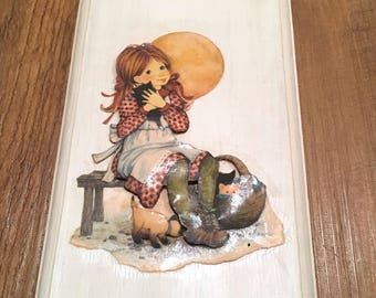 70's Big-Eyed Girl with Kittens Plaque
