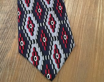 Vintage Adolfo Late 70s Red, White and Blue Graphic Silk Necktie