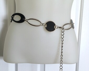 Black and Silver Geometric Chain Link Belt