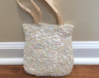 Vintage Satin Sequined and Beaded Bridal Purse
