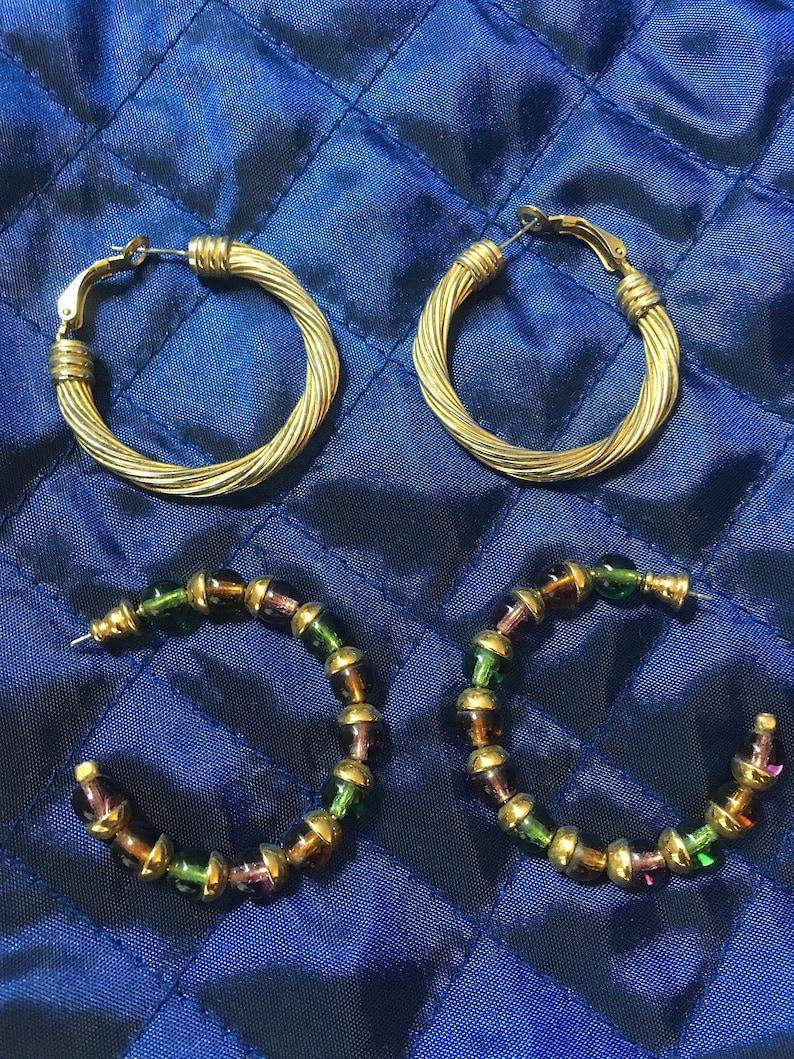 Two Pairs of Classic 1980s Hoop Earrings  Vintage 1.5 Hoop Earrings for Pierced Ears