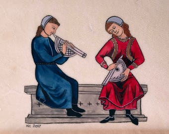 Musicians, original illuminated artwork from the Cantigas de Santa María