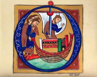 Illuminated drop cap, decorated O initial from a biblical scene