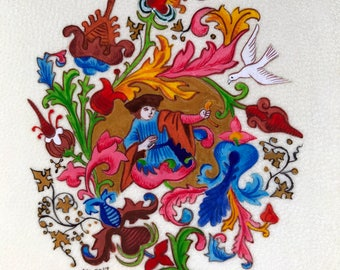 A renaissance-style miniature, original illuminated artwork