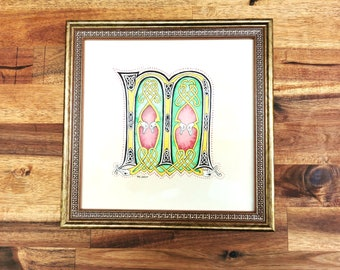 Original illumination artwork, illuminated letter M drop cap from the Book of Kells