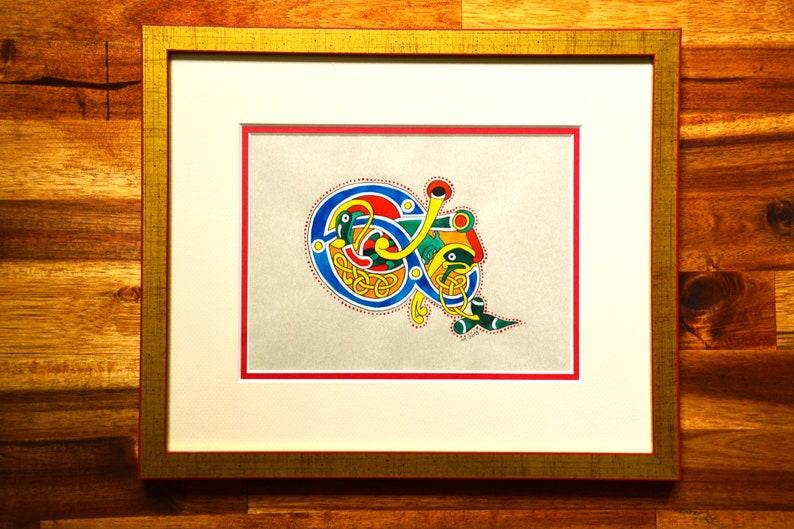 Original illuminated artwork Celtic ampersand drop cap image 0