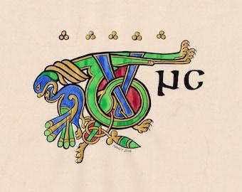 "Illuminated Celtic ""Tunc"" word taken from the Book of Kells, original artwork"