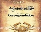 Cancer Astrological Sign Correspondences - 6 pages set