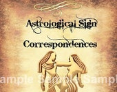 Gemini Astrological Sign Correspondences - 6 pages set