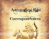 Sagittarius Astrological Sign Correspondences - 6 pages set