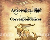 Capricorn Astrological Sign Correspondences - 6 pages set