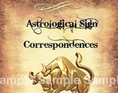 Taurus Astrological Sign Correspondences - 6 pages set