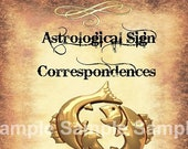 Pisces Astrological Sign Correspondences - 6 pages set
