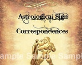 Aquarius Astrological Sign Correspondences - 6 pages set