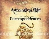 Leo Astrological Sign Correspondences - 6 pages set
