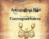 Scorpio Astrological Sign Correspondences - 6 pages set